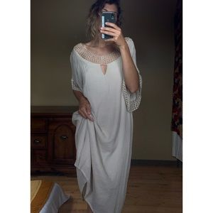 Bohemian baggy cream embroidered maxi dress